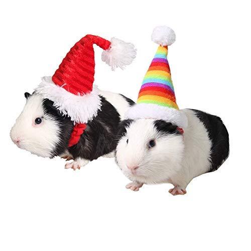 ASOCEA 2 Stück Kleine Haustier Urlaub und Weihnachten, elastisch, für Hamster, Kätzchen, Weihnachten, Kopfbedeckung, Haustier-Zubehör für Kaninchen, Meerschweinchen, Kleine Tiere, Rot