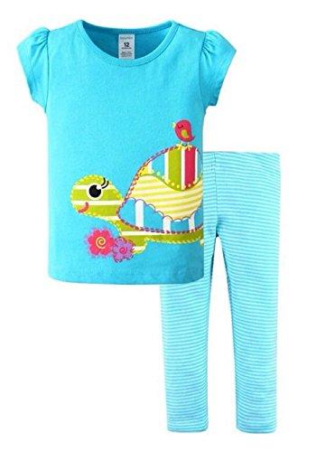 Bouimi Mädchen Set Sommer T-Shirt Leggins hellblau kurz Urlaub F7 (110)