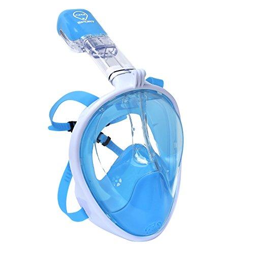AMZ SPORT Wasserdichte Schnorchelmaske Full Face Free Breathing Design, Anti-Fog und Anti-Leck-Technologie, Tauchmaske mit 180 Grad Viewing Light-Blue S/M