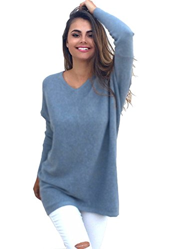 Yidarton Womens Sexy Oversized Jumper Dress Long Sleeve V Neck Knitted Tops Plus Size Baggy Sweater Pullover (Blue, XL)
