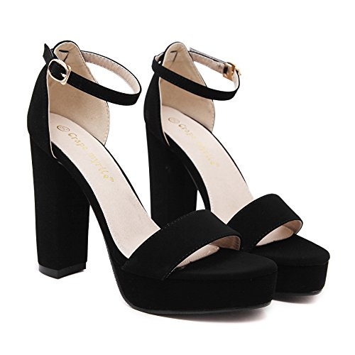 ZPPZZP La sig.ra sandali scanalato in stile occidentale a tacco alto irregolare con stile Romano, 37UK Black 38EU