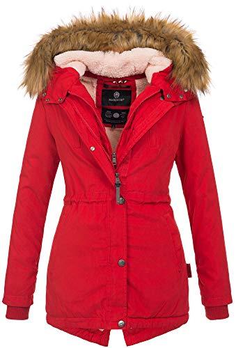 Marikoo Designer Damen Winter Parka warme Winterjacke Mantel Jacke B601 [B601-Rot-Gr.S]