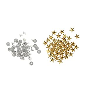 FLAMEER 50x Sternnieten Ziernieten Schmuckmieten Metallnieten Stern Motiv, Kleidungsstück - Gold