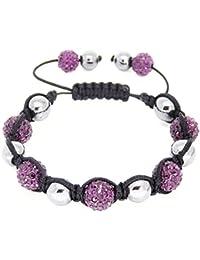 Style de célébrité Shamballa macramé perles bracelet avec des perles gun métal gris d'hématite et perles à effet de strass - perles de 10mm - 145