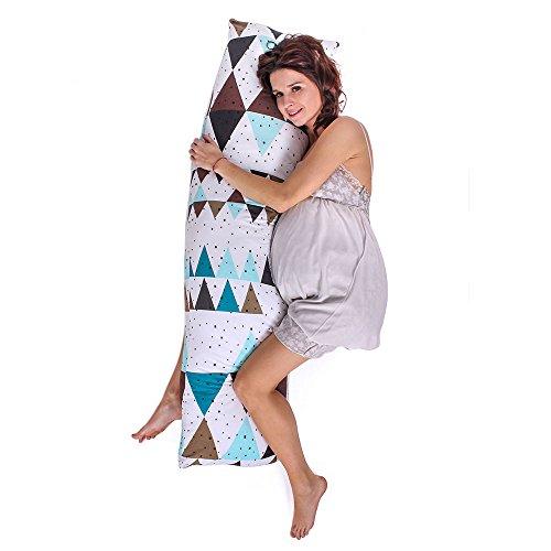 *LULANDO SleepSide Seitenschläferkissen Schwangerschaftskissen Lagerungskissen Körperkissen 120×40 cm. Weiches und bequemes Kissen zum Schlafen und Ausruhen. Farbe: Triangles – Cotton*