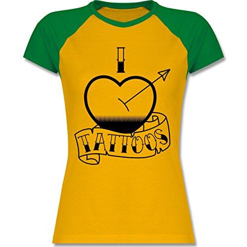 I love - I love Tattoos - zweifarbiges Baseballshirt / Raglan T-Shirt für Damen Gelb/Grün
