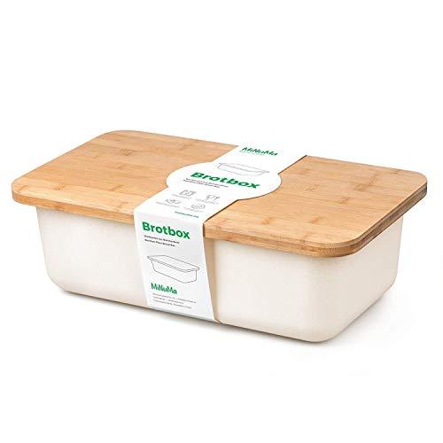 Minuma® Boîte à Pain en Bambou avec Planche à découper comme Couvercle (adaptée aux Aliments) | Blanc crème