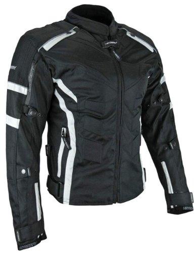 Heyberry Damen Motorrad Jacke Motorradjacke Textil Schwarz Weiß Gr. XL / 42 - 4