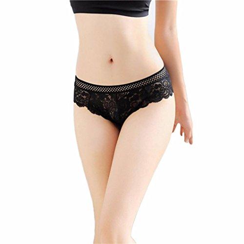 ❤️• •❤️ Panties Unterhosen LUCKYCAT Heißer Verkauf Mode Frauen Panties Unterhosen reizvolle Spitze-Schriftsatz-Schlüpfer-Zapfen-G-Schnur Wäsche Versuchung Reizvolle Unterhosen (A) (Black G-string Lace-up-bh Und)