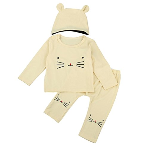 Kinder Baby Mädchen Junge Outfits Karikatur T-Shirt Tops + Hosen + Hut Set Hirolan Neugeboren Mode Unisex O-Hals Lange Ärmel Kleider (70cm, Beige) (Eigenschaft Brothers Kostüm)
