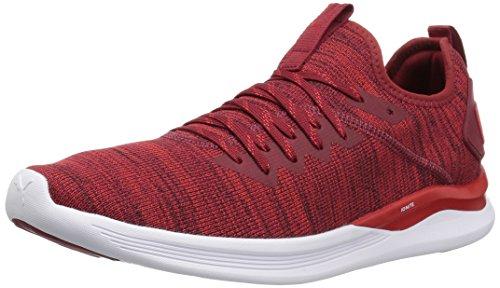 Puma Men's Ignite Flash Evoknit Competition Running Shoes, Dahlia High Risk Red White 7.5 UK