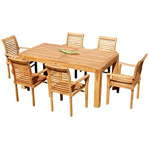 Echt Teak Set Gartengarnitur Bigfuss Tisch 180x90 mit 6 Sessel ALPEN Holz von AS-S  -