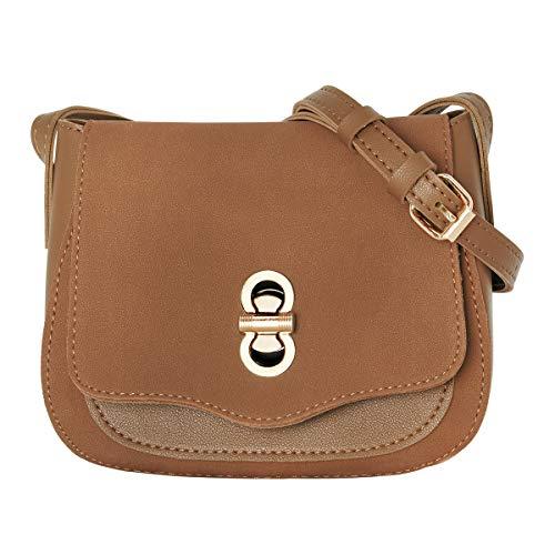 CRAZYCHIC - Damen Kleine Schultertasche Wildleder PU - Umhängetasche Citytasche - Abendtasche Clutch Handtasche - Messenger Bag Vintage Taschen - Frauen Mode Elegant - Kamel Braun -