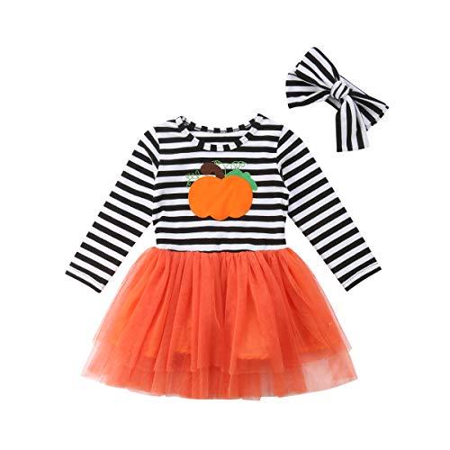 Kinder Mädchen Frühling Herbst Gestreifte Kleider Halloween Langarm Kleider mit Bow Kopfschmuck 120