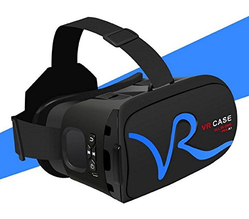 VR 3D Brille Virtual Reality Gläser mit Bluetooth Touch-Funktion Ein Gerät Blu-ray Augenschutz Headset Brillen Virtual Reality Handy 3D Filme 3D IMAX (Schwarz + Blau)