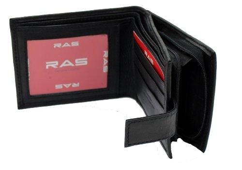 RAS® Herren Weiche Echte Leder Geld Brieftasche, Kreditkarten-Halter, ID-Karte Fenster & Eine Seite Sicherer Reißverschluss Münze Tasche #44 (Braun) Schwarz