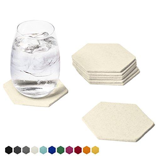 Smacc Filzuntersetzer, Hexagon 8er Set (Farbe wählbar) – Glasuntersetzer aus 100% Schafwolle, Untersetzer für Bar und Tisch Einrichtungsideen als Tischdeko (Creme)