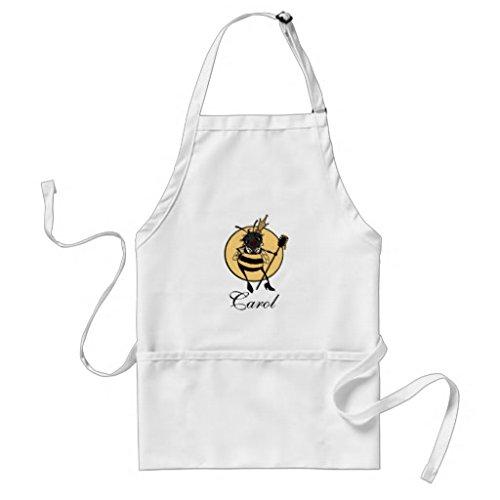Professional Chef tabliers pour femme Cute Queen Bee Tablier de cuisine Commercial Restaurant Home Unisexe tabliers Blanc cou réglable Attaches de tour de taille