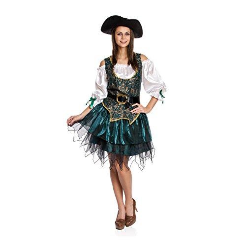 Kostümplanet® Piraten-Kostüm Damen Deluxe sexy Piratin-Kostüm Faschingskostüme Größe (Pirat Frau Sexy)