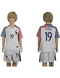 Top vente France 19Paul Pogba Away pour enfants Kid Enfant Football Soccer Jersey en blanc