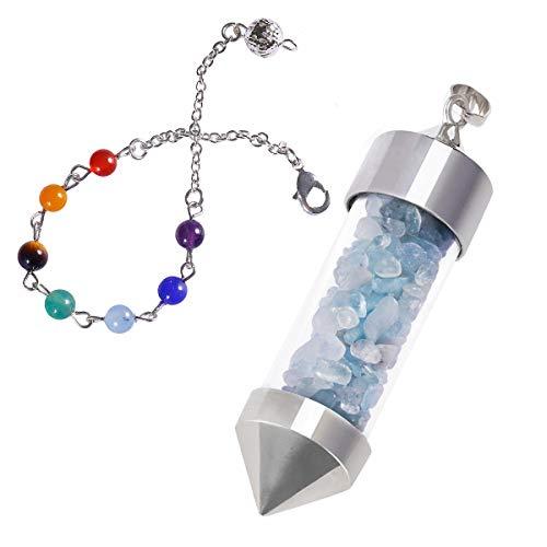 KYEYGWO 7 Chakra Crystal Point Dowsing Anhänger Halskette, Reiki-Heilung Divination metaphysisches spirituelles Pendel für das Chakra-Balancing (Crystal Point Halsketten)