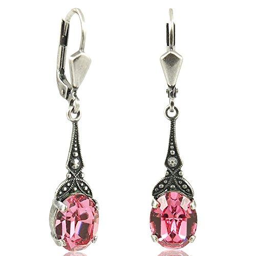 Jugendstil Ohrringe mit Kristallen von Swarovski Silber Rosa NOBEL SCHMUCK