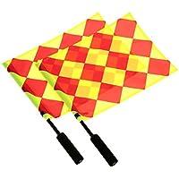 Yeshi 2pcs bandera de partido de fútbol árbitro Deportes Fútbol Linesman competencia equipo árbitro de fútbol bandera, Referee Flags