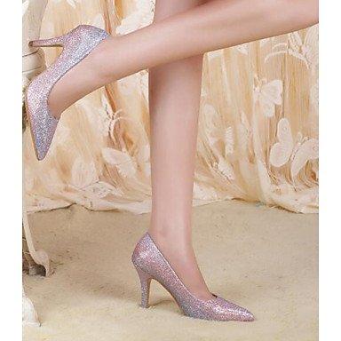 SHOESHAOGE Chaussures Pour Femmes En Cuir Nubuck Pu Printemps Automne Pompe De Base Talons Talon Pour Bleu Décontracté Fuchsia