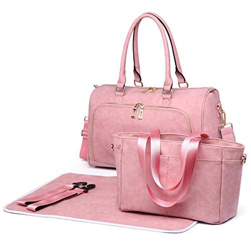 Miss Lulu 3-teilige Windel Wickeltasche Set Babytasche PU Leder (6638 Beige) 6638 Rosa