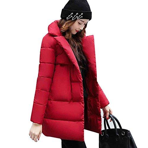 Baumwolle Daunenjacke Mid-lange Mantel Frauen Drehen Unten Kragen Verdicken Warme Solide Winter Parkas Taschen Mantel Gepolsterte Outwear Tops Minzhi (Verdicken Baumwolle Solide)