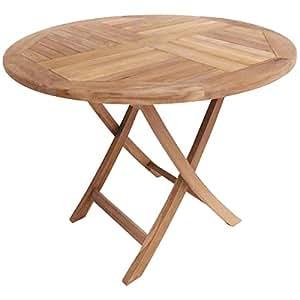 Table ronde de jardin pliable en teck massif Table de jardin chez amazon