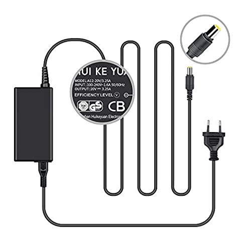 [TUV GS LISTED] HUIKEYUAN 20V 65W Laptop Chargeur Alimentation Pour Lenovo Thinkpad T400 T410 T420 T60 T61 X1 X60 X200 X201 X220 X300 L412 L420 L510 L512 L520 R400 R500 R61 SL410 SL510 T410S T420I T420S T500 T510 U110 X100E X120E X130E X200S X200T X201S X201T X220I X220T X61S; Lenovo ThinkPad Edge 11 13 14 15 E220S E420 E420S E520 (Câble d'alimentation européen inclus)