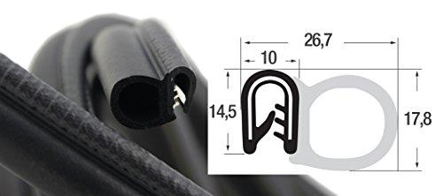 DS2 Dichtungsprofil von SMI-Kantenschutzprofi mit seitlicher Dichtung aus EPDM Moosgummi - Klemmprofil aus weich PVC - einfache Montage, selbstklemmend ohne Kleber - Klemmbereich 1-4mm -