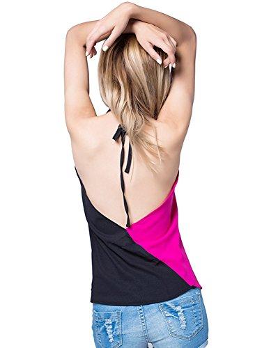 Damen Halter V-Ausschnitt Zwei Farben Top Tunika T-shirt Weste Rose Schwarz