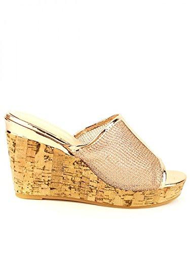 Cendriyon, Compensée Corail FASHIONAS Chaussures Femme Corail