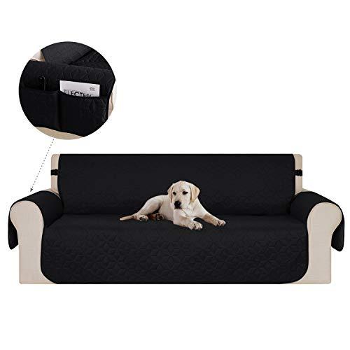 Deconovo Couverture Canape 3 Places Noir pour Salon Couvre Motif Géométrique Sofa Protège Canapé Sofa Decor 173x190cm