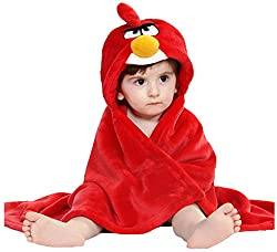 Brandonn Red Premium Hooded Blanket cum Wrapper for Babies
