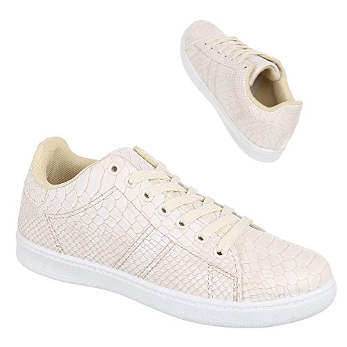 Sneakers casual beige con stringhe per donna yE2wSbmof
