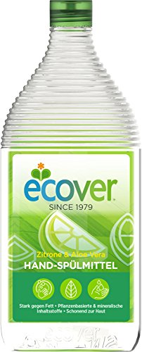 Ecover Hand-Spülmittel Zitrone und Aloe Vera, Dermatologisch getestet, 8 Stück Ecover Geschirrspülmittel