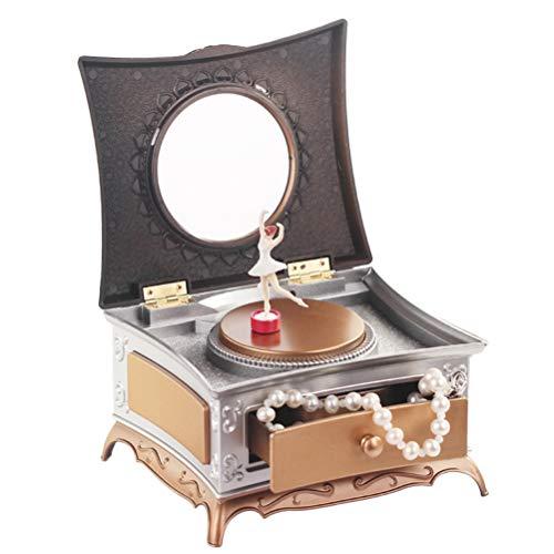 Vosarea Spieluhr Kunststoff Klassische Balletttänzerin Schmuck Aufbewahrungskoffer mit Spiegel für Mädchen Geschenk Dekoration (Golden) - Schmuck-box Musikalische