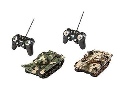 Revell Control 24224 - RC Panzer Set, Battle Game POWER TRACKS, 2 RC Panzer mit Infrarot-Schussfunktion, Soundmodul, Rückstoßeffekt, Mündungsfeuer-LED, Kettenlaufwerk mit Gummikette, MHz von Revell GmbH