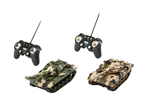 Preisvergleich Produktbild Revell Control 24224 - RC Panzer Set, Battle Game POWER TRACKS, 2 RC Panzer mit Infrarot-Schussfunktion, Soundmodul, Rückstoßeffekt, Mündungsfeuer-LED, Kettenlaufwerk mit Gummikette, MHz