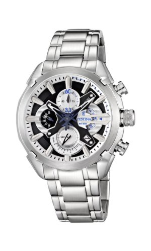 Festina Men's Quartz Watch with Black Dial Chronograph Display and Silver Stainless Steel Bracelet F6822/3