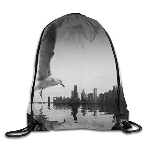 GHMJVHFG Black and White Vintage City Edge Seagull Drawstring Bag Stylish Cute Print Lightweight Sackpack Sport Gym Bundle Backpack Theme Novelty Outdoor Classic Köche Edge
