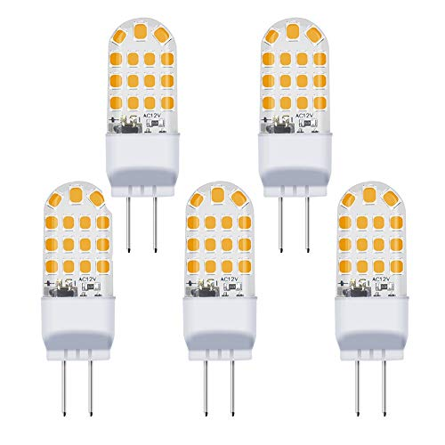 G6.35 LED Lampe 3.5W 12V Warmweiß 3000K 2Stiften 360° Abstrahlwinkel JC Typ 35W Glühbirne Ersatz LED G6.35/GY6.35(5 Stück, Nicht Dimmbar) -