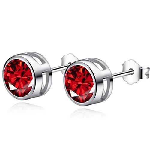 Preisvergleich Produktbild Wiftly Unisex Damen herrren Schmuck Ohrringe Ohrstecker Punk&Rock Super Flash Zircon Earrings (rot)