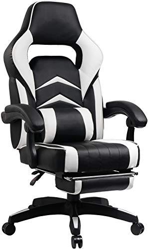 Umi. Essentials Gaming Stuhl Computerstuhl Chefsessel Kunstleder Bürostuhl Höhenverstellbarer Schreibtischstuhl Ergonomisches Design mit Fußstütze und Wippfunktion (Weiß)