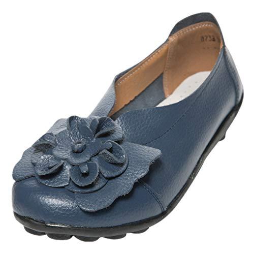 Dorical Damen Mädchen Erbsen Schuhe Casual Flach Schuhe Gartenschuhe Kunstleder Slip on Komfortable Schuhe Weich Leichte Bequem Rutschfest Freizeitschuhe Halbschuhe (Dunkelblau,41)