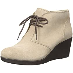 Crocs - Frauen Leigh Suede Wedge Shootie Stiefel, EUR: 38, Tan