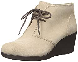 Crocs Womens Leigh Wedge Shootie Boots Tan 9.5 B(M) US